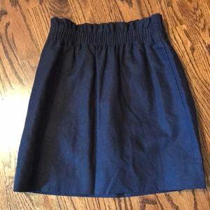 Linen paper bag waist skirt
